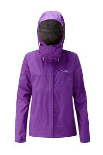 【速捷戶外】英國RABQWF-63DownpourJacket女高透氣連帽防水外套(魔鬼茄紫),登山雨衣,防水外套