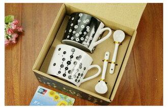 黑白時尚 情侶對杯 附湯勺 咖啡杯 早餐杯 咖啡杯 水杯 馬克杯 ☆真愛香水★