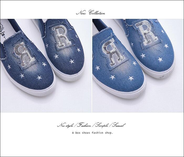 格子舖*【AS1636】基本款百搭英文字母星星 刷白破壞牛仔帆布懶人鞋 布面/帆布鞋 2色 2