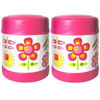THERMOS 膳魔師保溫杯/保溫瓶/燜燒鍋推薦到膳魔師0.3L小花兒不鏽鋼真空食物罐 F3001FFP6(超值2入組)