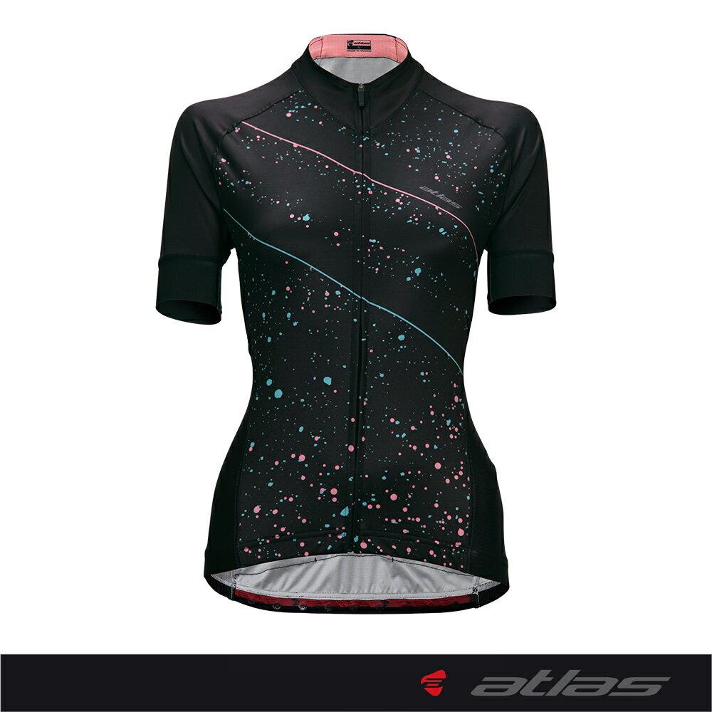 【亞特力士ATLAS】女短袖車衣 舒適版24~30度 WJC-302-P(璀璨流星)