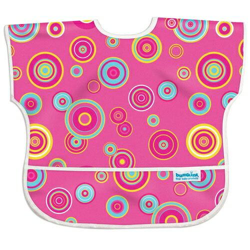 【淘氣寶寶】【美國Bumkins】兒童(1-3歲)短袖防水圍兜-粉紅普普風 BKU-420【保證公司貨】