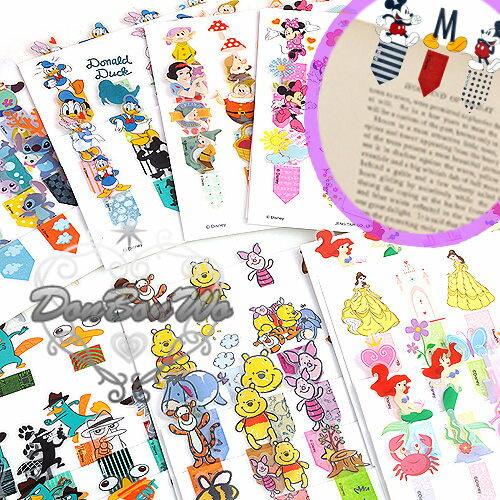 迪士尼米妮泰瑞鴨人魚白雪唐老鴨維尼小飛象史迪奇貼紙書籤貼標籤貼050011海渡