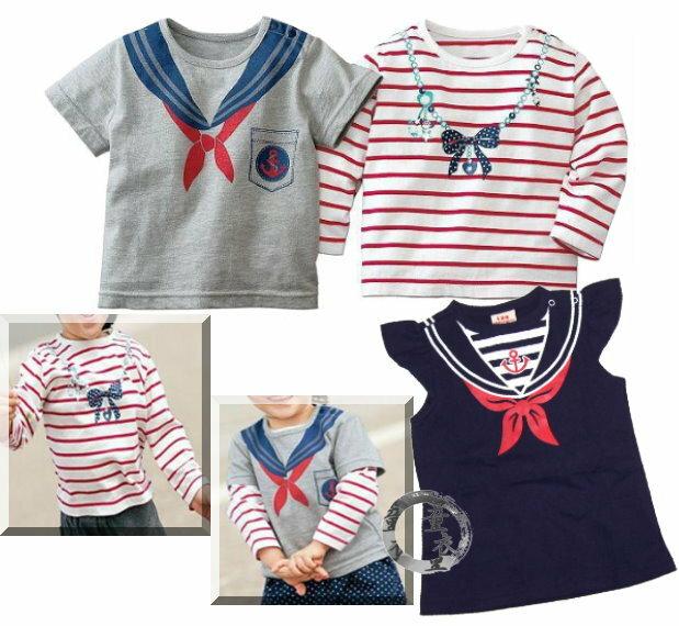 童衣圓~AB029~AB29海軍混搭風 印花 長袖 短袖 背心 薄綿 毛巾圈 T恤 上衣^