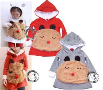 童衣圓【AG051】AG51小紅鼻洋裝 厚棉 刷毛 綿絨 含帽 長版 T恤 傘狀 娃娃裝~90.100.110.120.130