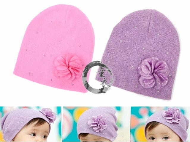 童衣圓~R039~R39花朵套頭帽 韓單 氣質美少女 立體小花 針織帽 彈性帽 頭圍36~