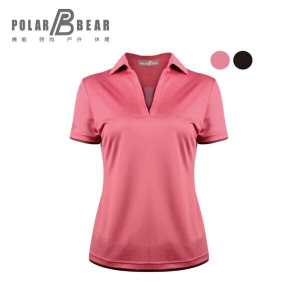 【POLARBEAR】女降溫涼感咖啡冰紗V領POLO衫