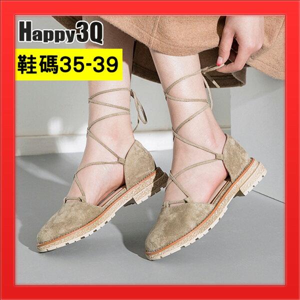 舞蹈鞋子交叉綁帶設計女鞋圓頭平底涼鞋芭蕾鞋感-棕綠黑35-39【AAA4304】