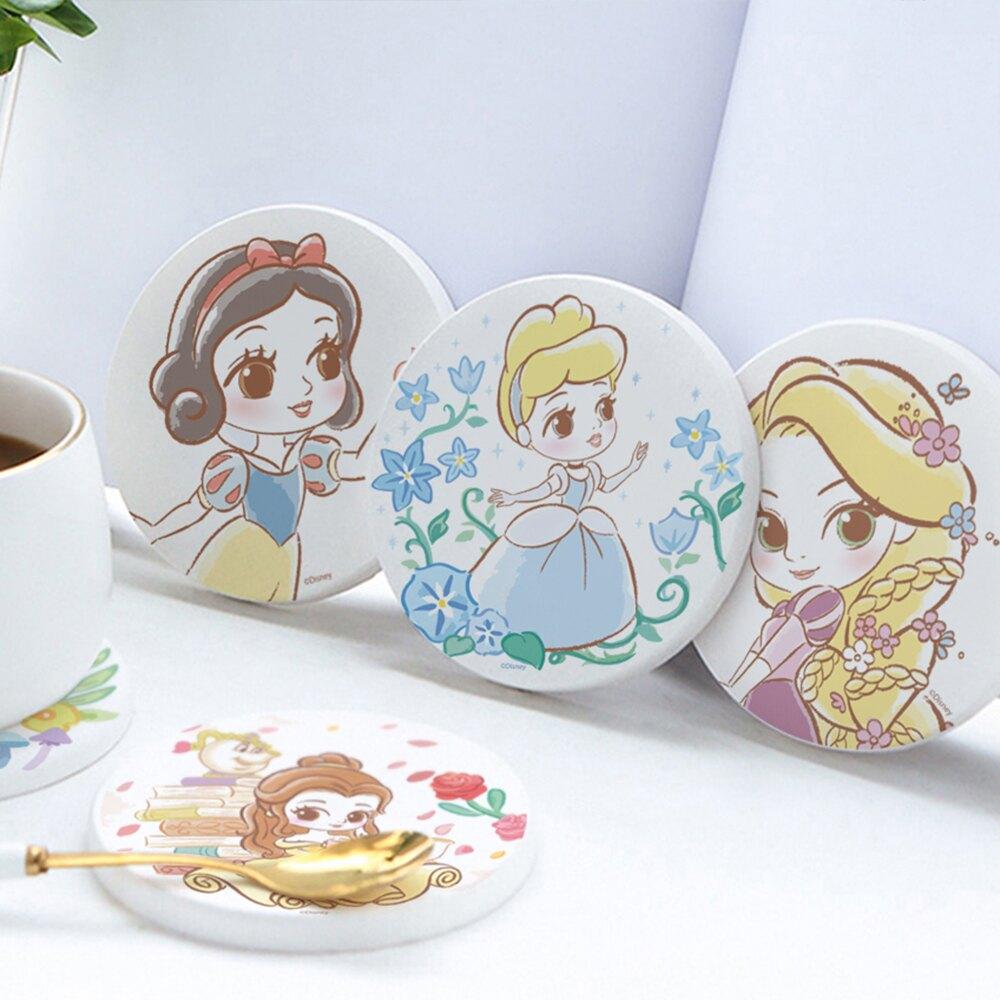 【買1送1 】迪士尼公主童話風珪藻土吸水杯墊 3