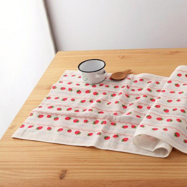 taoru 日本毛巾 和的風物詩 草莓 55*115 cm (浴巾 紗布毛巾 小涼被 可愛世界)