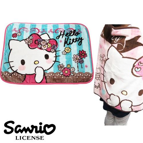 藍色條紋款【日本進口正版】凱蒂貓 Hello Kitty 絨毛 披肩 毛毯 毯子 三麗鷗 Sanrio - 417840