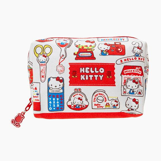 【真愛日本】4901610579664 寬口化妝包-KT懷舊紅AAZ 三麗鷗 Hello Kitty 凱蒂貓 化妝包 收納包