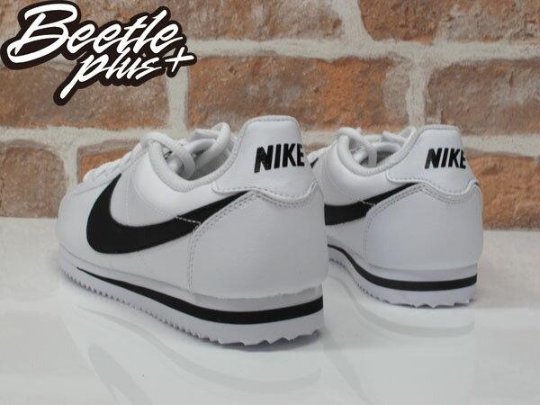 女生 BEETLE PLUS 現貨 NIKE CORTEZ (GS) 阿甘鞋 慢跑鞋 全白 黑勾 白黑 復古 749482-102 D-587 2