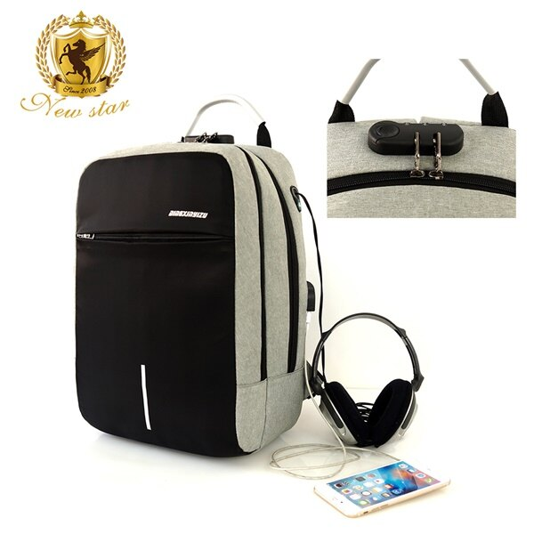 防水雙層密碼鎖防盜充電後背包包(可掛行李箱) NEW STAR BK259 9