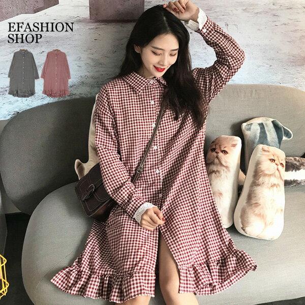 長洋裝-袖拼布蕾絲荷葉裙襬小格長洋裝-eFashion預【J16501093】