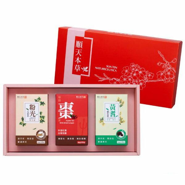順天本草 棗到福氣禮盒(黃耆+粉光+福圓棗茶)x1