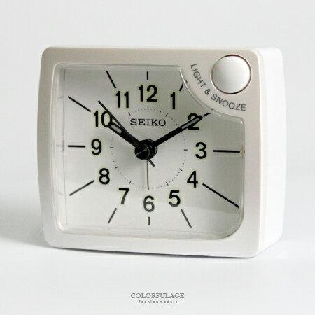 SEIKO日本精工 輕巧上市漸強式嗶嗶聲鬧鈴白色方形貪睡鬧鐘 柒彩年代【NV1696】原廠公司貨