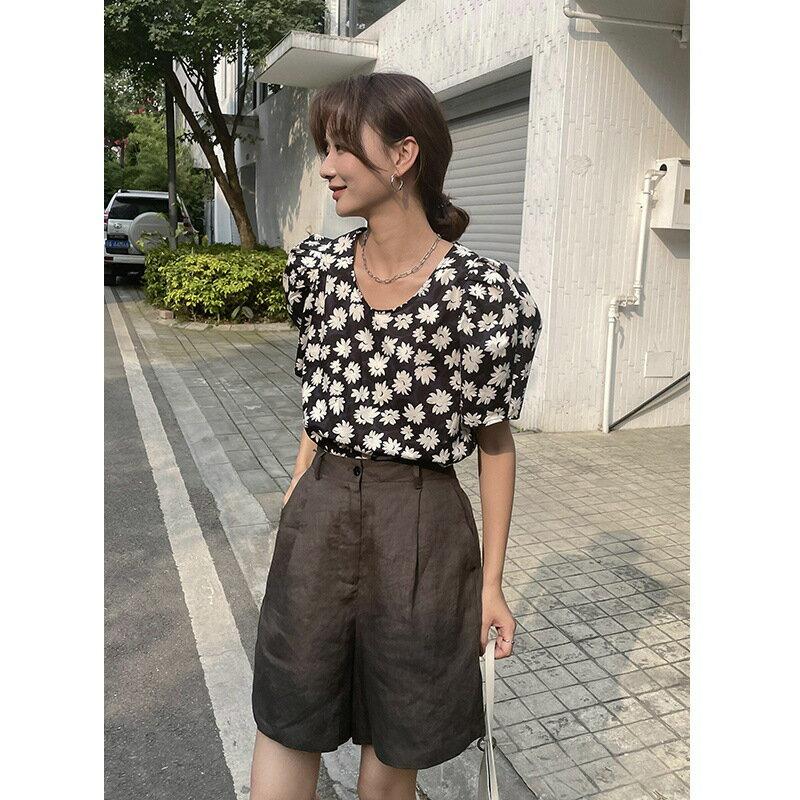 夏季新款短褲女韓版高腰闊腿褲寬鬆鬆緊腰顯瘦休閒褲