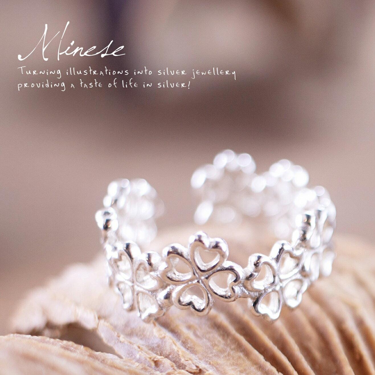 四葉幸運草戒指 F003, 925純銀、項鍊戒指手鍊飾品銀飾手作珠寶MIT設計師品牌~手工製作