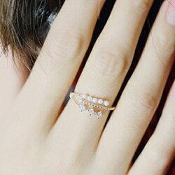★925純銀戒指鑲鑽開口戒-時尚耀眼環繞珍珠情人節生日禮物女飾品3色73dv1【獨家進口】【米蘭精品】