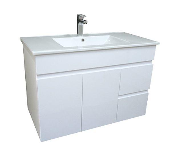 洗臉盆+浴櫃(吊櫃)+水龍頭+全部配件 寬100x深46x高62cm 100%防水PVC發泡板鋼琴烤漆