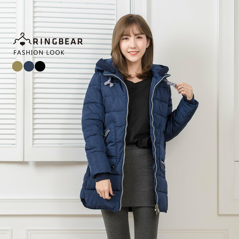 保暖--帥氣有型抽繩連帽羅紋縮口袖顯瘦版型羽絨棉外套(黑.藍.綠XL-3L)-J317眼圈熊中大尺碼 0