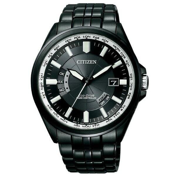 CITIZEN星辰CB0011-51L炫黑經典電波紳士光動能電波腕錶/黑面44mm