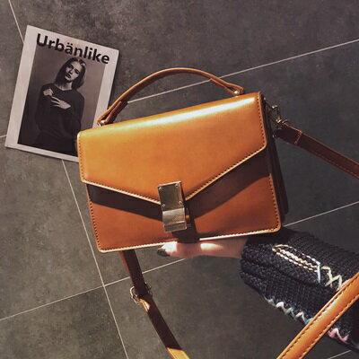 手提包肩背小方包-復古純色經典鎖扣女包包3色73fc395【獨家進口】【米蘭精品】