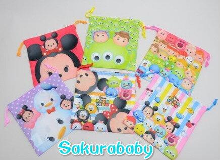 迪士尼 tsumtsum 束口袋 卡通束口袋 小物收納袋 多種用途 不挑款 櫻花寶寶