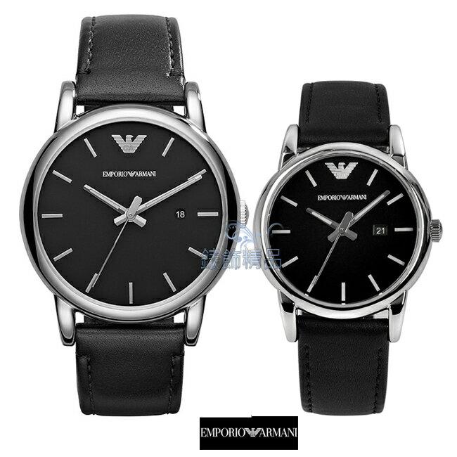 【錶飾精品】ARMANI手錶/ARMANI錶/亞曼尼表 AR1692 AR1693 日期 黑面黑皮帶 情人對錶 禮物 訂婚 六禮 十二禮