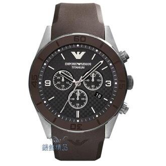 【錶飾精品】ARMANI手錶 亞曼尼表 三眼計時 格紋錶盤 日期 咖啡膠帶男錶 AR9501 全新正品 生日 情人禮物