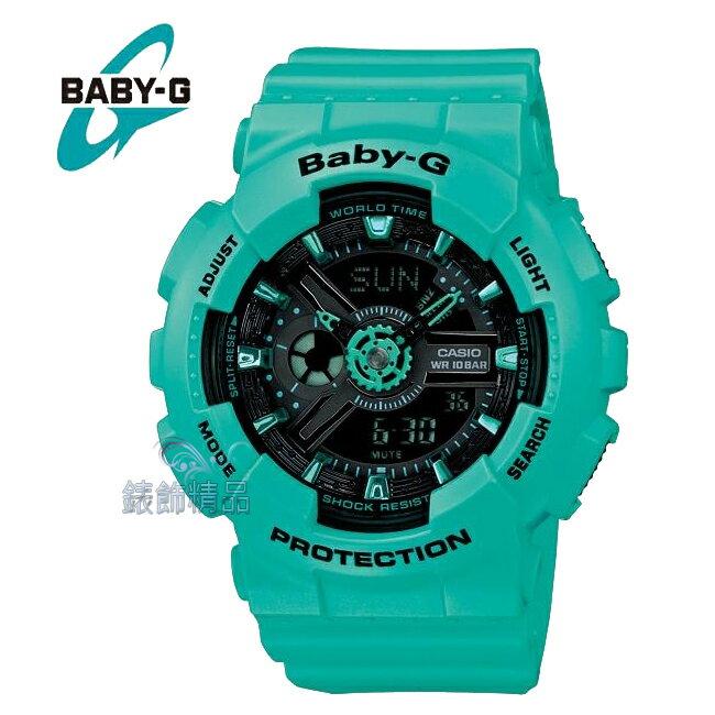 【錶飾精品】現貨 卡西歐CASIO BABY-G 立體錶盤 湖水綠框黑BA-111-3A全新原廠正品 少女時代 Tiffany BA-111-3ADR禮物