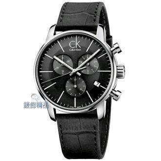 【錶飾精品】CK Calvin Klein ck錶 ck手錶 都會時尚計時碼錶 日期 黑面黑皮帶男表K2G271C3全新