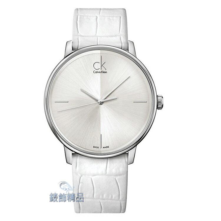 【錶飾精品】CK錶 CK手錶 極簡優雅 銀白面 銀框白皮帶 中性表K2Y2X1K6-大 原廠正品 情人禮品