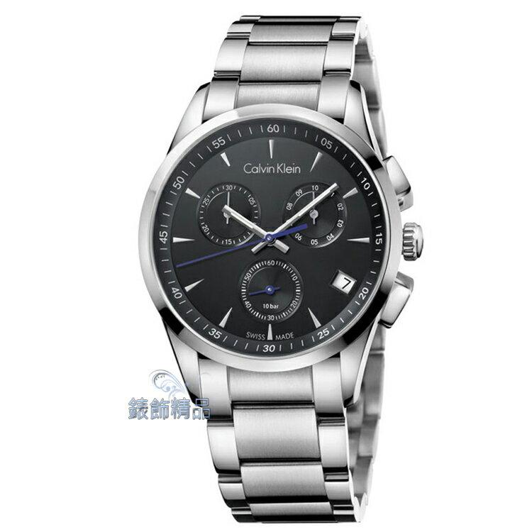 【錶飾精品】CK手錶 bold系列 經典藍指針設計 三眼計時 黑面日期 鋼帶男錶 K5A27141 正品 生日 情人禮物