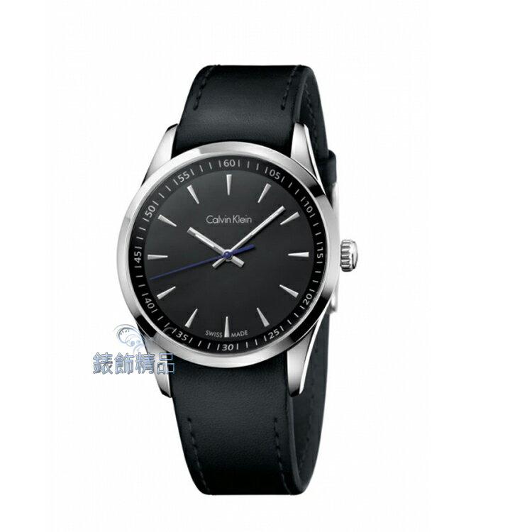 【錶飾精品】CK手錶 bold系列 經典藍指針設計 黑面 完美貼合黑皮帶男錶 K5A311C1 原廠正品 生日 情人禮物