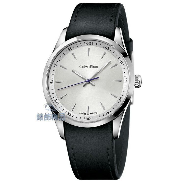 ~錶飾 ~CK手錶 bold系列 藍指針 白面 完美貼合黑皮帶男錶 K5A311C6 正品