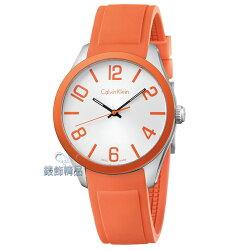 【錶飾精品】CK Calvin Klein凱文克萊 運動時尚腕錶 炫彩系列 白面橘膠帶 K5E51YY6 原廠正品