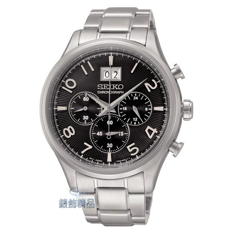 【錶飾精品】SEIKO手錶 精工錶 黑面 大視窗日期 三眼計時秒錶 SPC153 正品 SPC153P1 情人禮物