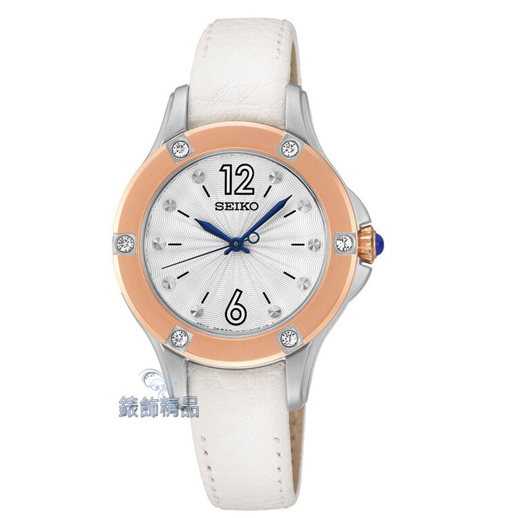 【錶飾精品】SEIKO錶 時尚淑女錶 白面玫金框白皮帶 SRZ422 施華洛世奇水鑽 SRZ422P2 情人生日禮物