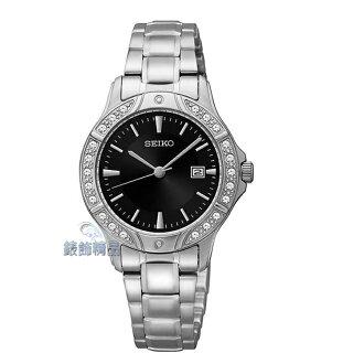 【錶飾精品】SEIKO錶 時尚淑女錶 黑面日期 施華洛世奇水鑽 SUR877全新原廠正品 SUR877P1