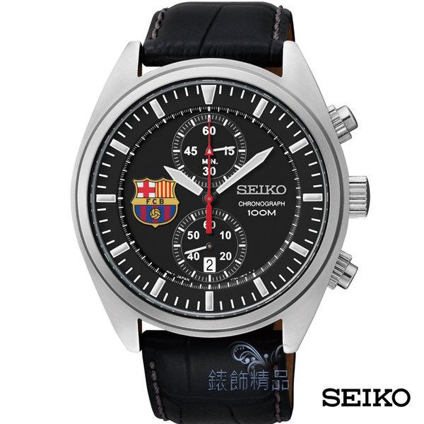 【錶飾精品】SEIKO手錶/精工錶 巴塞隆納紀念錶款 黑面雙眼計時 夜光日期 黑皮帶男表SNN269P1