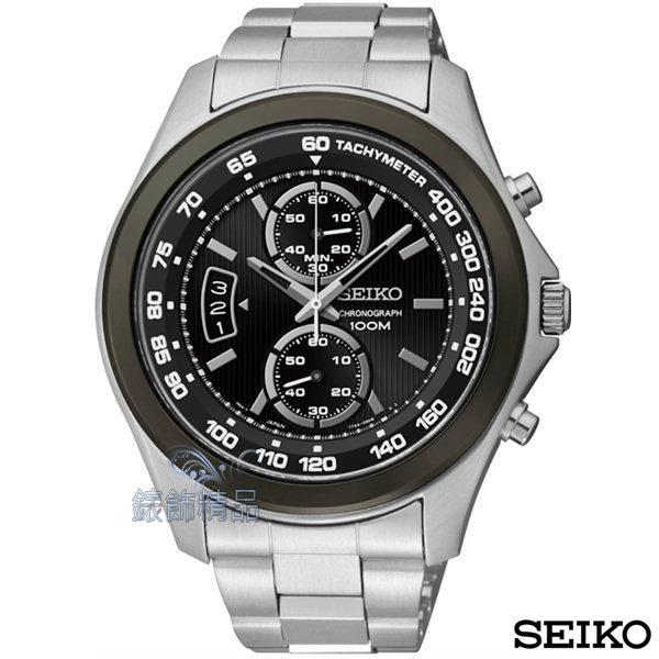 【錶飾精品】SEIKO手錶 精工錶 黑面黑框日期 計時 鋼帶 男表 SNN257P1全新原廠正品SNN257