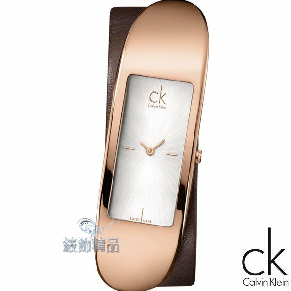 【錶飾精品】CK WATCH/CK錶/CK手錶/ Calvin Klein表現自我/白面玫瑰金框咖啡皮帶女錶K3C236G6全新