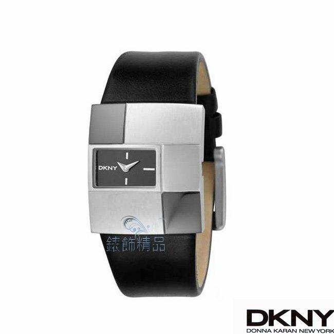 【錶飾精品】DKNY手錶/DKNY錶 個性 獨特 幾何亮霧面交錯錶面 黑色皮帶女表NY4453