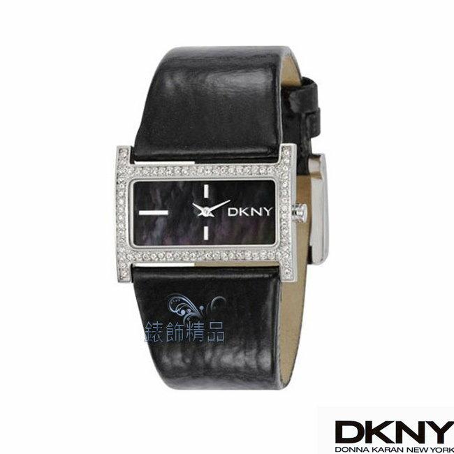 【錶飾精品】DKNY手錶/DKNY錶 時尚美魔女 低調奢華 晶鑽錶框 珍珠背錶盤 黑色皮帶女表NY4821