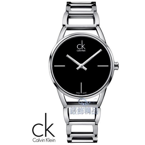 【錶飾精品】CK WATCH/CK錶/CK手錶/CK Calvin Klein時尚簡約黑面鏤空鍊帶女錶K3G23121