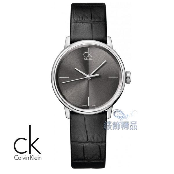 【錶飾精品】CK WATCH/CK錶/CK手錶/Calvin Klein黑面黑皮帶女錶K2Y2Y1C3全新原廠正品