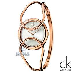 【錶飾精品】CK WATCH/CK錶/CK手錶/Calvin Klein玫瑰金框白面鏤空手環式女錶K4C2M616(中)