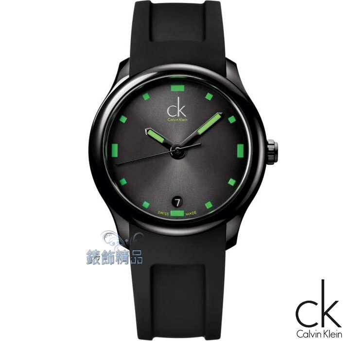 【錶飾精品】CK表/CK手錶/Calvin Klein黑炫神秘/螢光綠時標日期黑膠帶男錶K2V214DX全新正品